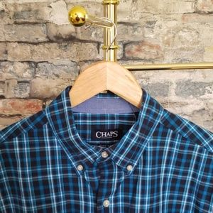 NEW CHAPS Blue Plaid Button Down Shirt Size Medium